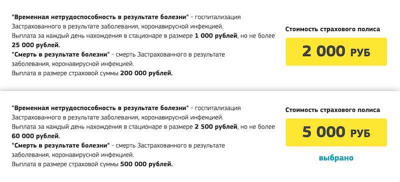 Стоимость страхового полиса от коронавируса